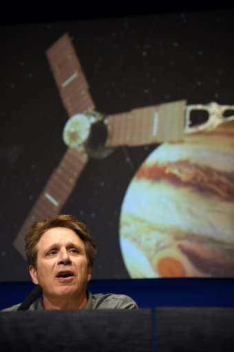 NASA Juno Mission Principal Investigator Scott Bolton speaks at a press conference at the Jet Propulsion Laboratory (JPL) in Pas