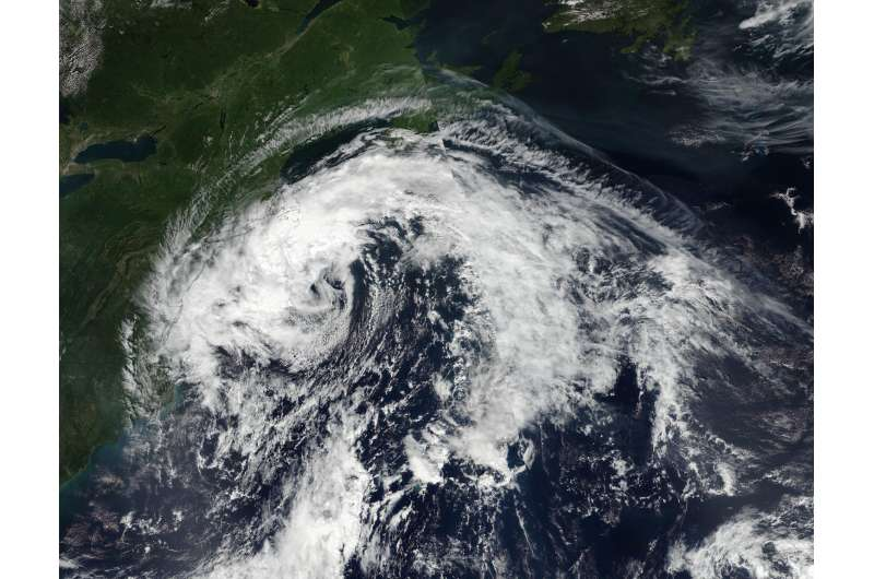 NASA sees post-Tropical Cyclone Hermine linger over northeastern US