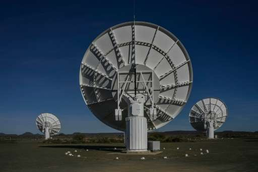 Part of the ensemble of dishes forming South Africa's MeerKAT radio telescope is seen in Carnarvon on July 16, 2016