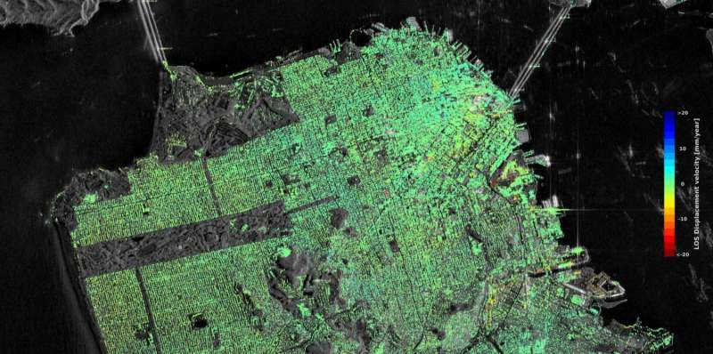 Satellites confirm sinking of San Francisco tower