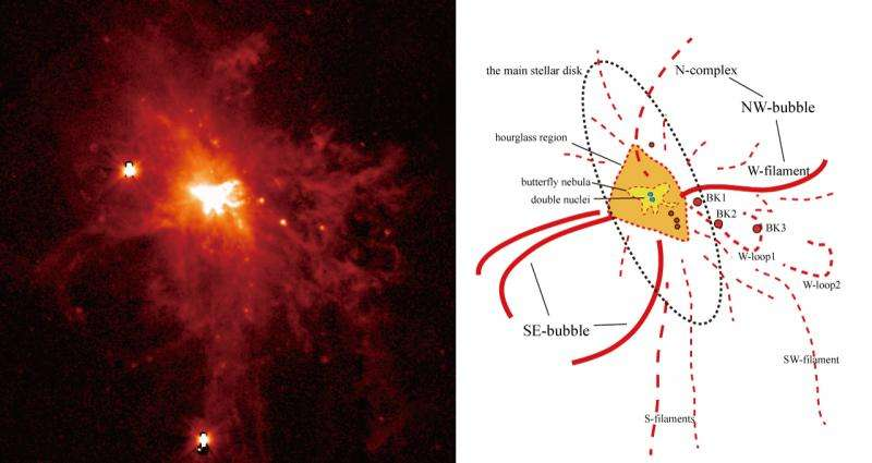 A violent wind blown from the heart of a galaxy tells the tale of a merger