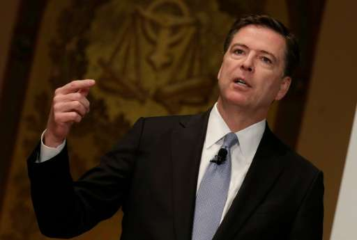 FBI Director James Comey addresses the Master of Science in Foreign Service CyberProject's sixth annual conference at the George
