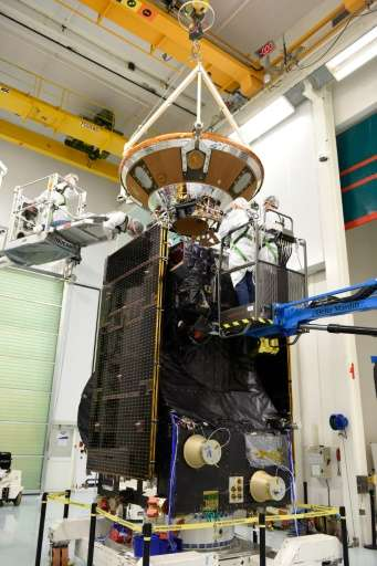 Picture released by the European Space Agency (ESA) shows technicians working on the final preparations on one of two ExoMars sp
