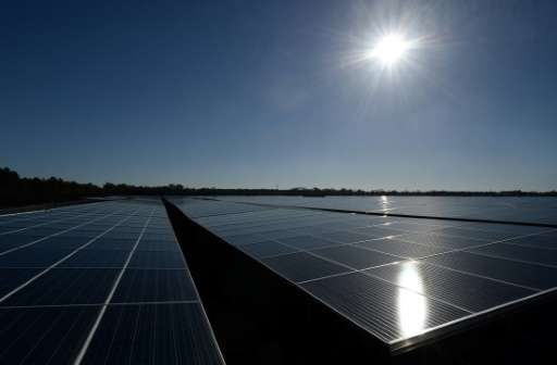 Photovoltaic panels dominate the landscape at the solar energy centre in Cestas, France
