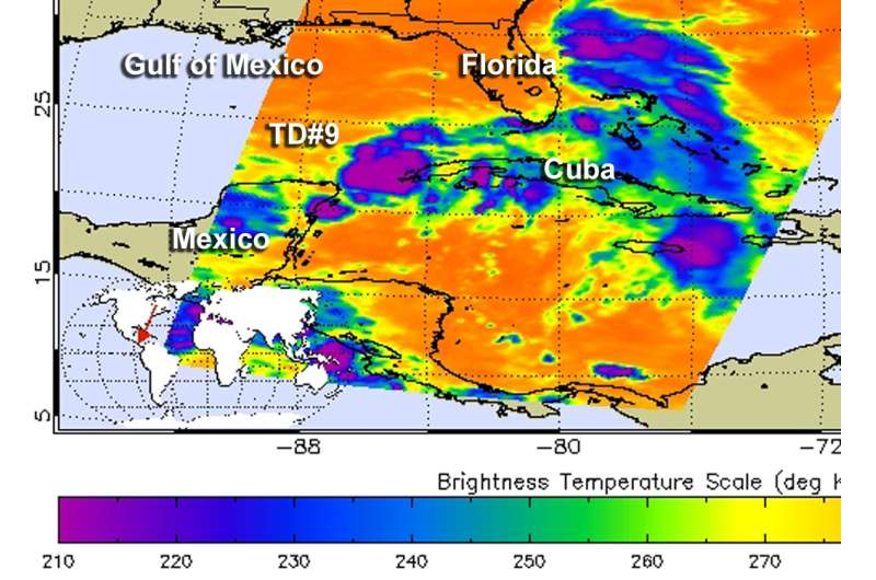 Satellite sees large Tropical Depression 9 in the Gulf of Mexico