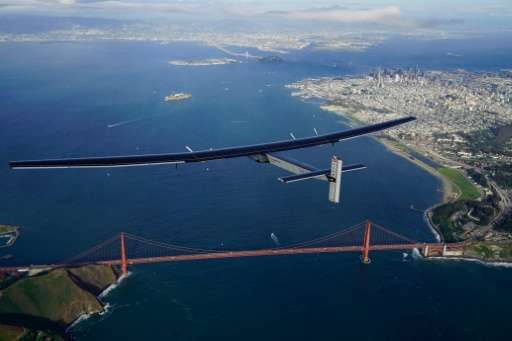 Solar Impulse 2 flies over the Golden Gate Bridge in San Francisco on April 23, 2016