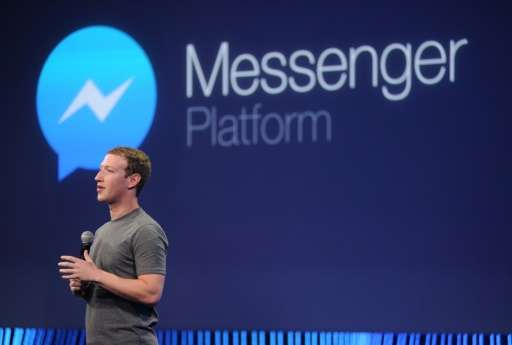 Facebook CEO Mark Zuckerberg introduces a new messenger platform at the F8 summit in San Francisco, California, on March 25, 201