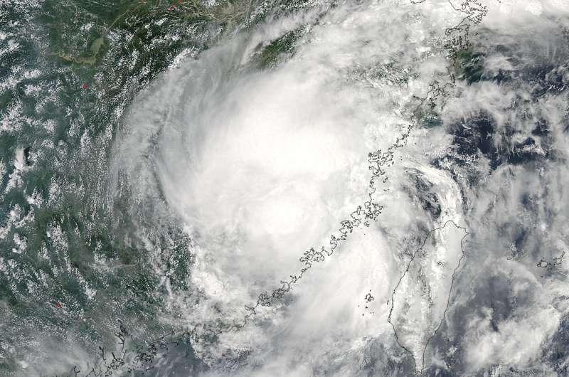 NASA's Aqua satellite sees Nepartak after landfall in China