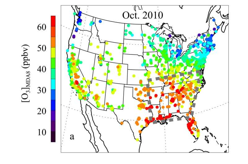 Climate change may extend ozone season in the Southeastern US