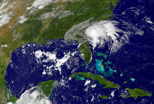 Satellite image shows Tropical Storm Julia off the Southeast coast of the US