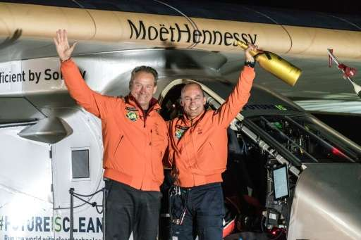 Solar Impulse 2 Swiss pilots Bertrand Piccard (R) and André Borschberg pictured in Tulsa in May