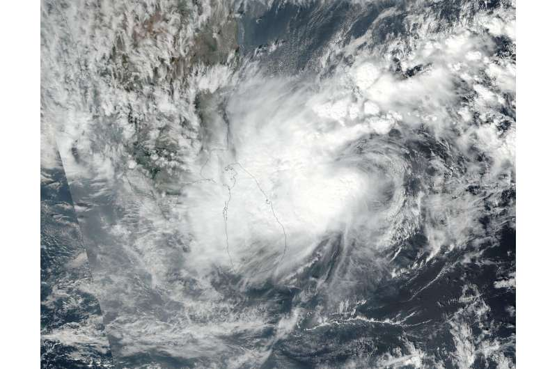NASA sees Tropical Storm Nada affected by wind shear