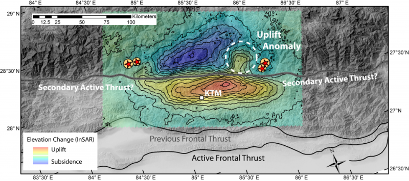 Researchers find complex relationship between major earthquake faulting and mountain building in the Himalaya