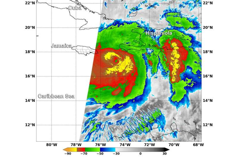 NASA sees Hurricane Matthew making landfall in Haiti