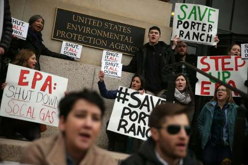 Activists stage a protest outside the EPA urging it to shut operations of Southern California Gas Company's Aliso Canyon storage