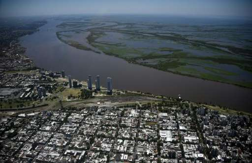 Aerial view of the city of Rosario, on the banks of the Parana River in Argentina between Villa Carlos Paz and Rosario, on Janua