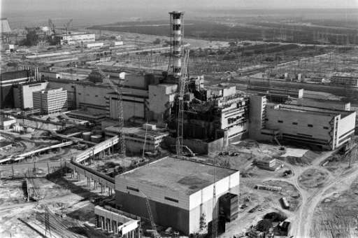 A general view taken from a helicopter in April 1986 shows the destroyed fourth power block of Chernobyl's nuclear power plant f