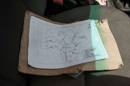 A map indicates checked paths during a lion population count at Yankari Nature Reserve in Nigeria