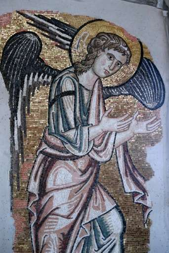 An ancient angel mosaic on a wall in the upper part of the Church of the Nativity, which was uncovered during restoration works