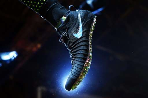 A Nike sports shoe is pictured during an event to unveil their latest innovative sports products in New York on March 16, 2016