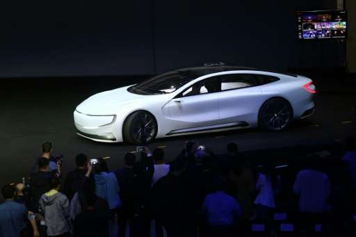 An Internet electric battery driverless concept car 'LeSEE' is seen during a launch event in Beijing on April 20, 2016