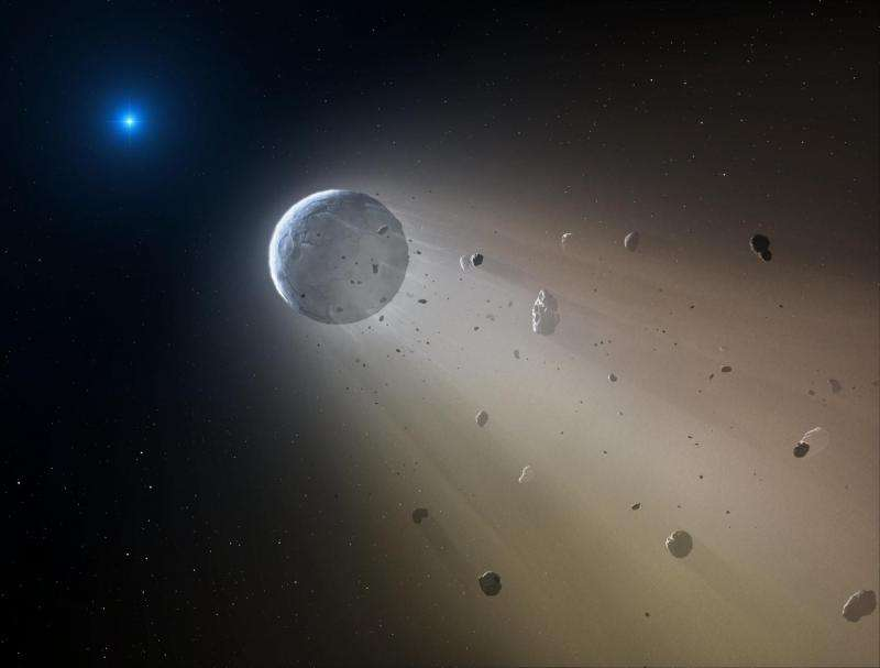 Are asteroid fragments drifting around a distant white dwarf star?
