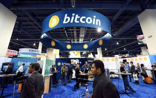 Bitcoin booth at the International CES, at the Las Vegas Convention Center in Nevada