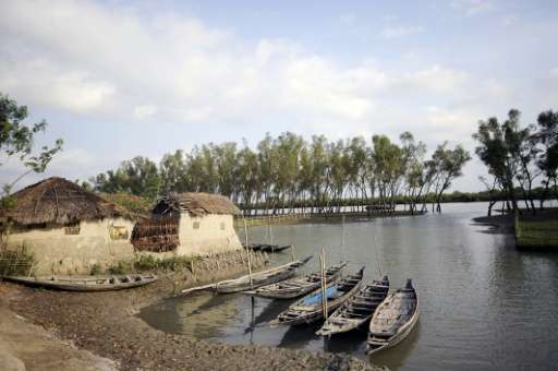 Boats are seen at a village near the Sunderbans in Khulna, some 350 kms southwest of Dhaka, on March 31, 2009