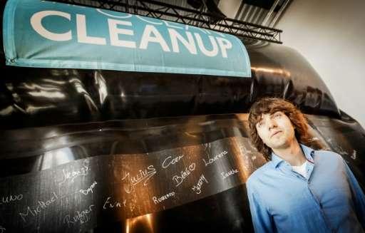 Boyan Slat unveils his prototype of The Ocean Cleanup project in Scheveningen on June 22, 2016