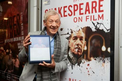 British actor Ian McKellen poses for a photograph during a photo call in central London on April 22, 2016