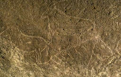Cave engravings representing horses and goats, in the Armintxe cave in the Basque village of Lekeitio