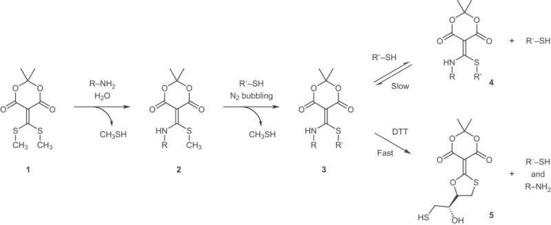 Click and declick of amine and thiol coupling reaction