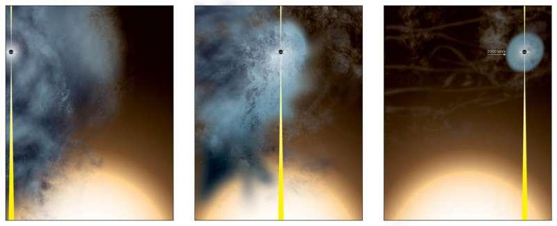 Wandering black hole observed in a galaxy far, far away