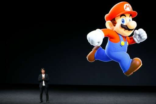 Creator of Super Mario, Shigeru Miyamoto, speaks on stage during Apple launch event in San Francisco