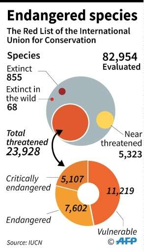 Details of the latest Red List of endangered species from the International Union for the Conservation of Nature