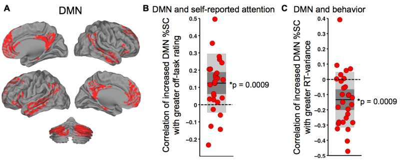 DMN activity correlates positively with self-reported off-task attention and negatively with behavioral variability