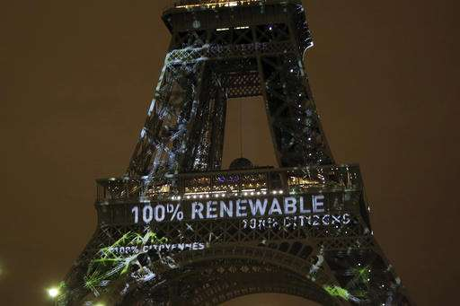Eiffel Tower lit green in honor of Paris climate change deal
