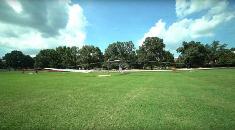 First flight of a solar-powered, piloted helicopter