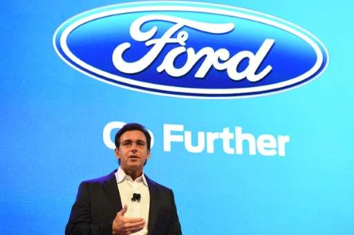 Ford CEO Mark Fields speaks January 5, 2016 in Las Vegas, Nevada ahead of the 2016 Consumer Electronics Show