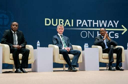 (From L) Rwandan Minister of Natural Resources Vincent Biruta, Executive Director of UNEP Erik Solheim and President Paul Kagame