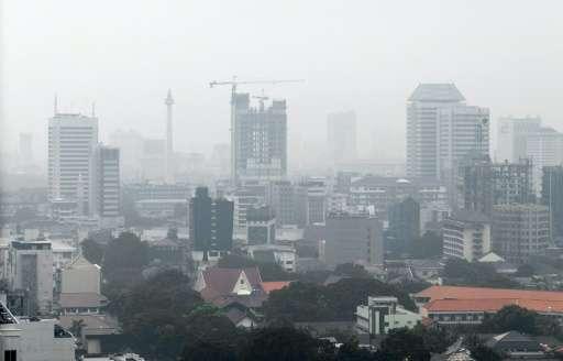 Haze over the Jakarta skyline on May 17, 2016