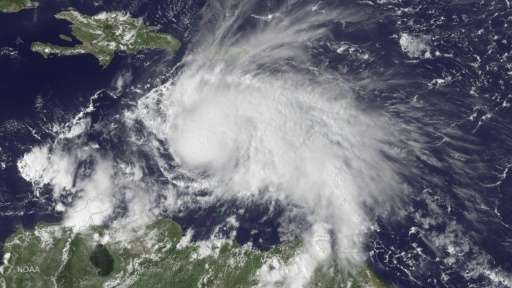 Hurricane Matthew in the Caribbean Sea at 1845 GMT on September 29, 2016