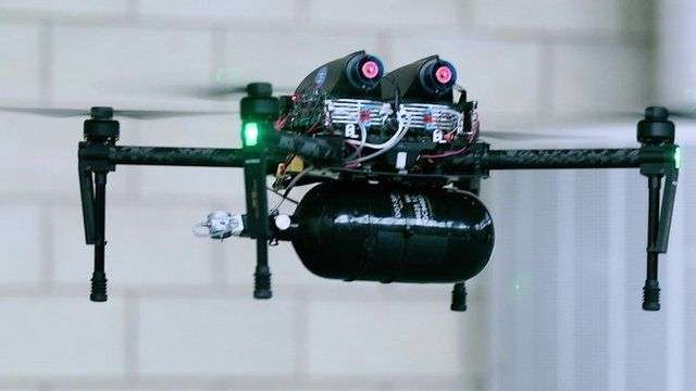 Hydrogen-fueled drone taken for test run