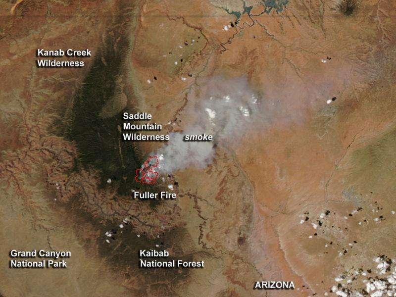 Image: Arizona's fuller fire seen by NASA's Aqua satellite