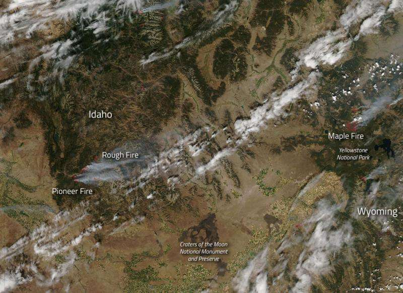 Image: Fires in Idaho and Wyoming