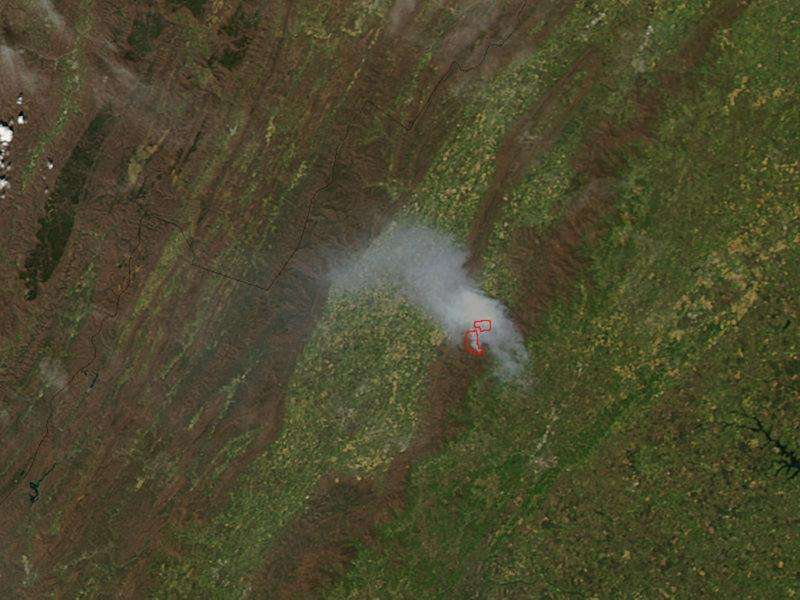 Image: Rocky Mountain fire in Virginia from orbit