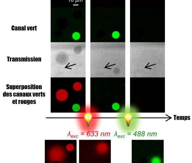 Light-induced vesicle explosions to mimic cellular reactions