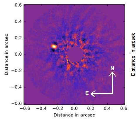 Low-mass companion found inside debris disc of a nearby star