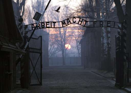 """Main gate entering the Nazi Auschwitz death camp at sunrise with the infamous sign reading """"Arbeit macht frei"""" (Work s"""