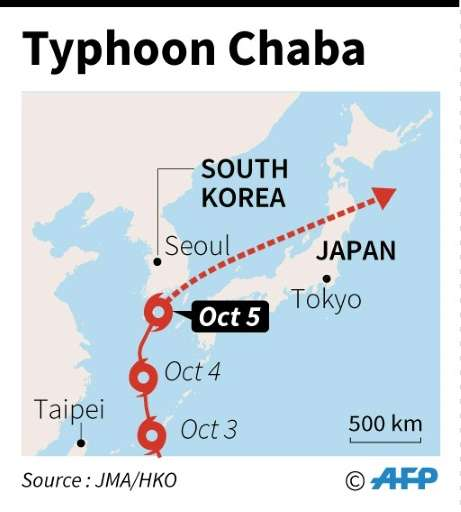Map showing the track of typhoon Chaba which scraped South Korea on October 5, 2016, and is heading toward Japan